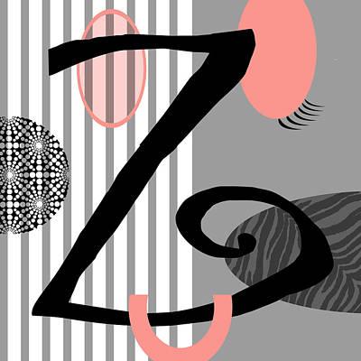 Smiling Mixed Media - The Letter Z by Valerie Drake Lesiak