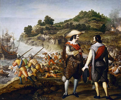 Liberation Painting - The Liberation Of San Juan In Puerto Rico by Eugenio Cajes