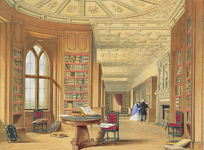 The Library, Windsor Castle, 1838 Art Print by James Baker Pyne