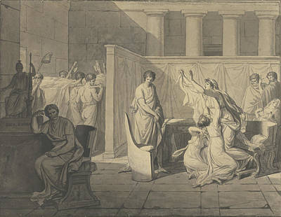 Wash Drawing - The Lictors Bringing Brutus The Bodies Of His Sons by Litz Collection