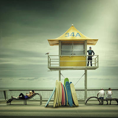 Benches Photograph - The Life Guard by Adrian Donoghue