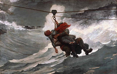 Winslow Homer Painting - The Life Line by Winslow Homer