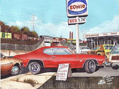 Esso Oil Painting - The Life Story Of A 1970 Chevy Chevelle Part 5 by Ryan Sardachuk