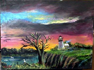 Painting - The Light House-3 by M bhatt