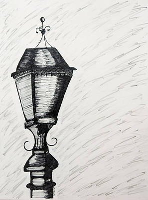 Lamp Post Drawing - The Light Is Out by Karin Celeste