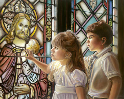 Communion Painting - The Light Of Faith by Sharon Lange