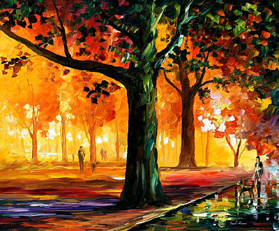 The Light Of The Night - Palette Knife Oil Painting On Canvas By Leonid Afremov Original by Leonid Afremov