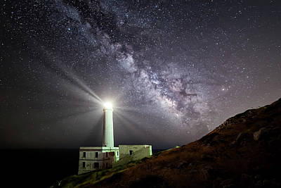 Milky Way Wall Art - Photograph - The Lighthouse And The Milky Way by Luigi Chiriaco