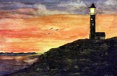 Painting - The Lighthouse At Dusk by Gerry Smith