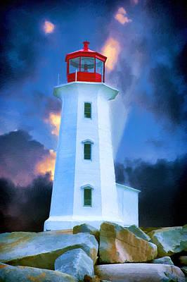 St Margaret Digital Art - The Lighthouse At Peggys Cove by John Haldane
