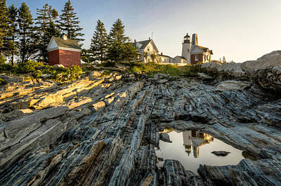 The Lighthouse At Pemaquid Point Reflected In Tidal Pool Print by At Lands End Photography