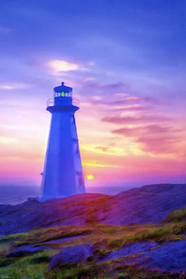 Star Burst Painting - The Lighthouse At Sunset by Tyler Robbins