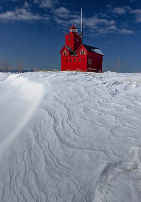 The Lighthouse Big Red During Winter In Holland Michigan Print by Randall Nyhof