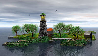 Ocean Front Landscape Digital Art - The Lighthouse by John Junek