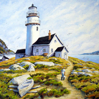 Prankearts Painting - The Lighthouse Keeper by Richard T Pranke