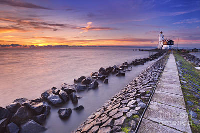 Markermeer Photograph - The Lighthouse Of Marken In The Netherlands At Sunrise by Sara Winter