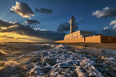 Coastal Photograph - The Lighthouse Seen From The Sea by Luigi Chiriaco