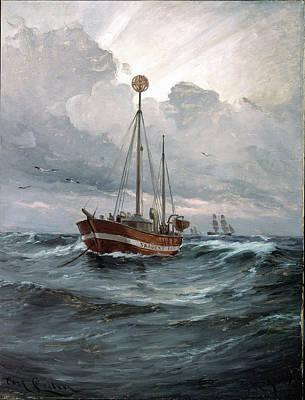 The Lightship At Skagen Reef Print by Carl Locher