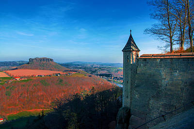 Photograph - The Lilienstein Behind The Fortress Koenigstein by Sun Travels
