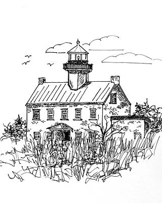 Drawing - The Lines Of East Point Light 2 by Nancy Patterson