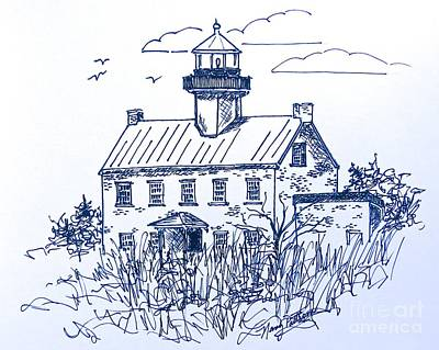 Drawing - The Lines Of East Point Light In Blue by Nancy Patterson