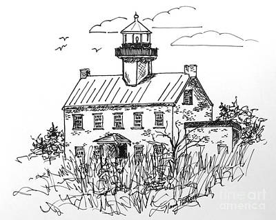 Drawing - The Lines Of East Point Light  by Nancy Patterson