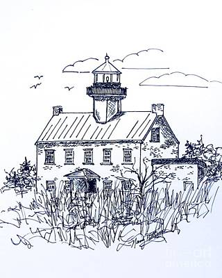Drawing - The Lines Of East Point Lighthouse In Blue 2 by Nancy Patterson