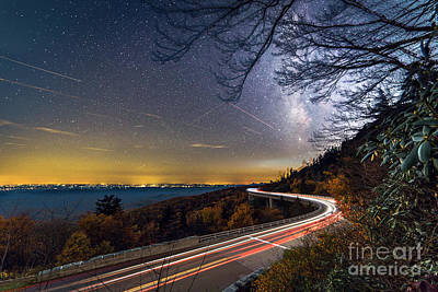 The Linn Cove Viaduct Milky Way Light Trails Art Print