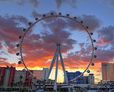Flamingo Hotel Wall Art - Photograph - High Roller At The Linq by Eddie Yerkish