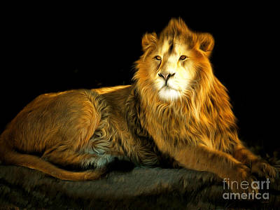 Lion Photograph - The Lion 201502113-2brun by Wingsdomain Art and Photography