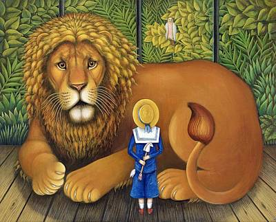 Male Cat Painting - The Lion And Albert, 2001 by Frances Broomfield