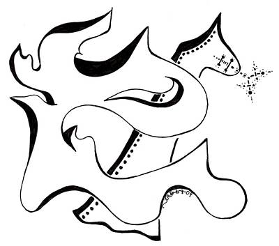 Abstract Shapes Drawing - The Lion And Horse by Judy Gerstner