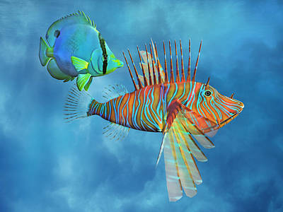 Three Fish Digital Art - The Lion And The Butterfly by Betsy Knapp