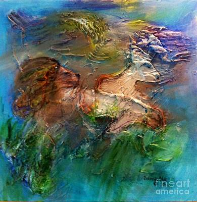 Lion And Lamb Painting - The Lion And The Lamb by Deborah Nell