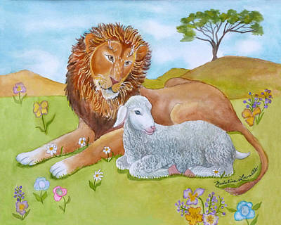 Lion And Lamb Painting - The Lion And The Lamb by Madeline  Lovallo