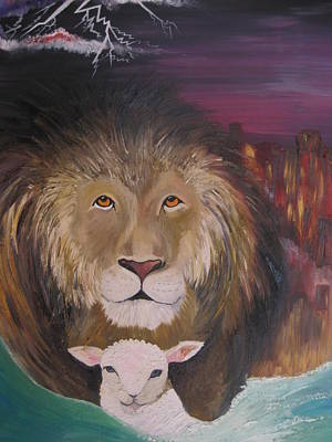 Christian Painting - The Lion And The Lamb by Rachael Pragnell