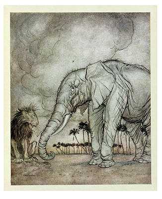 Photograph - The Lion, Jupiter And The Elephant, Illustration From Aesops Fables, Published By Heinemann, 1912 by Arthur Rackham