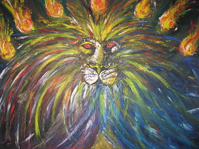 Lions Painting - The Lion Of Judah And The Seven Lampstands by Rachael Pragnell