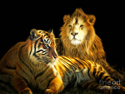 Lion Digital Art - The Lions Den 201502113-2brun by Wingsdomain Art and Photography