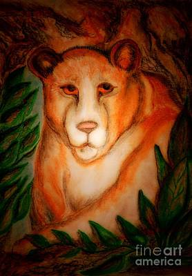 Drawing - The Lion's Den by Maria Urso