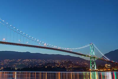 Photograph - The Lions Gate Bridge, Vancouver by Michael Wheatley