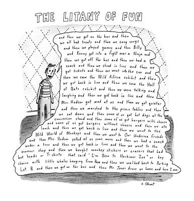 Etc Drawing - The Litany Of Fun ...and Then We Got On The Bus by Roz Chast