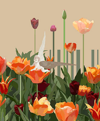 A Little Angel With Tulips Original