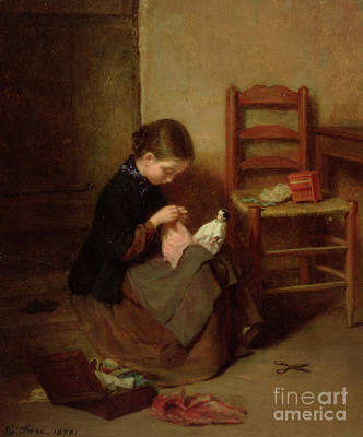 Seamstress Painting - The Little Dressmaker by Pierre Edouard Frere