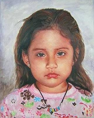 Painting - The Little Girl Two by Samuel Daffa