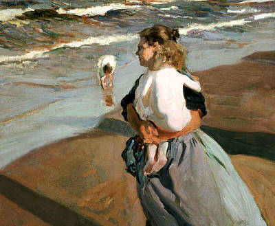 Woman Holding Baby Painting - The Little Granddaughter by Joaquin Sorolla y Bastida