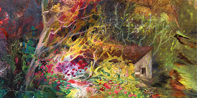 Mystical Landscape Painting - The Little House In The Woods by Miki De Goodaboom