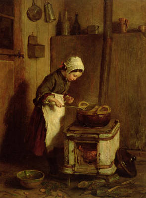 Oven Painting - The Little Housekeeper by Pierre Edouard Frere