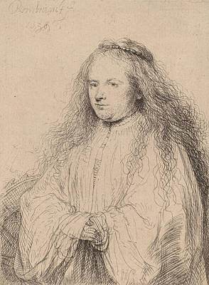 Saint Catherine Drawing - The Little Jewish Bride by Rembrandt