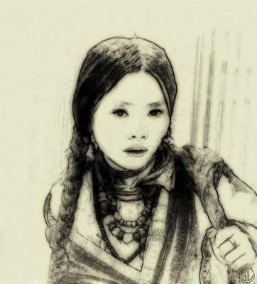 Nomad Digital Art - The Little Nomad Girl by Gun Legler